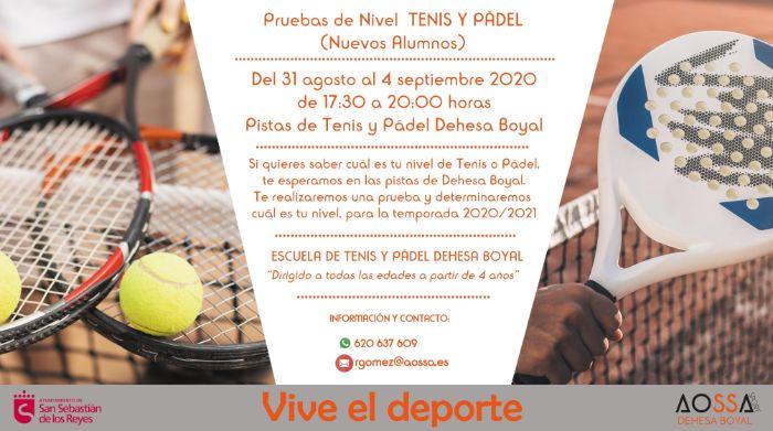 Pruebas de Nivel Tenis y Padel 2020_DEHESA