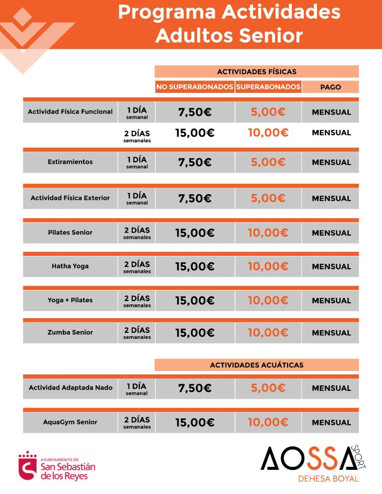 PRECIOS ACTIVIDADES SENIOR WEB 2021