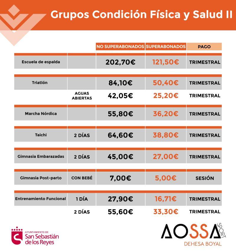 PRECIOS ACTIVIDADES FISICAS WEB 2021-2