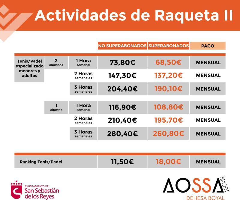 PRECIOS ACTIVIDADES RAQUETA 2 WEB 2021