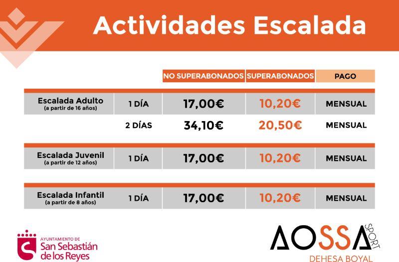 PRECIOS ACTIVIDADES ESCALADA WEB 2021