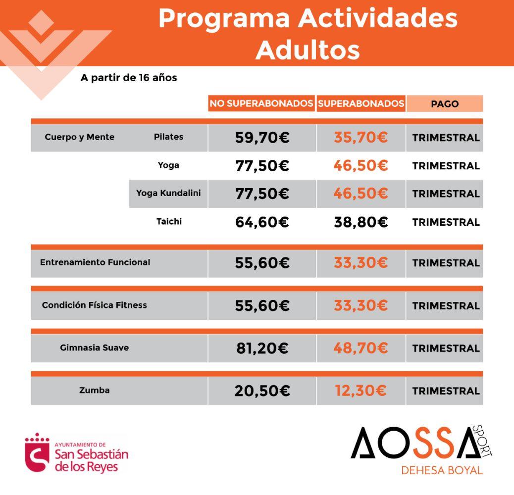 PRECIOS ACTIVIDADES PROGRAMA ADULTOS Claudio Rodríguez WEB 2021